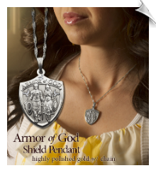 Armor of God Ladies Pendant Silver - 10 Pack