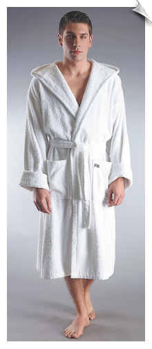 White Mens Hooded Mid Calf Bathrobe