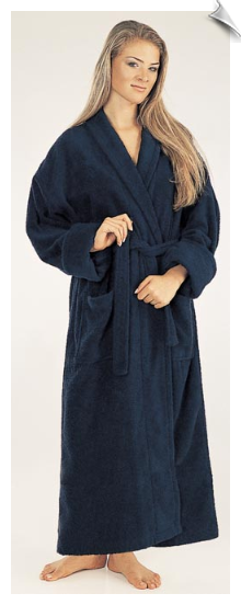White Womens Full Length Bathrobe
