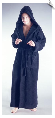 Black Mens Full Length Hooded Bathrobe