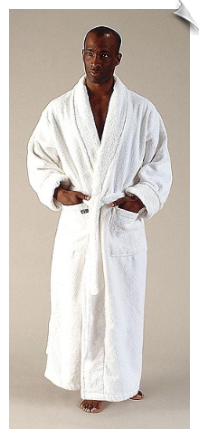 Marine Blue Mens Full Length Bathrobe