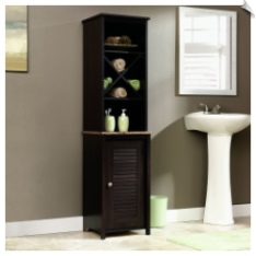 Linen Tower Bath Cabinet, Cinnamon Cherry Finish