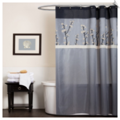 Cocoa Flower Fabric Shower Curtain
