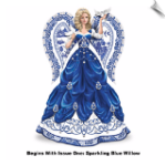 """Sparkling Blue Willow"" Angel Figurine"