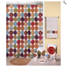 Dot Swirl Fabric Shower Curtain