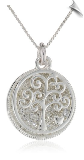 Sterling Silver Two Piece Crystal Pave Pendant Necklace with Family Tree