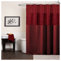 Maria Red Fabric Shower Curtain