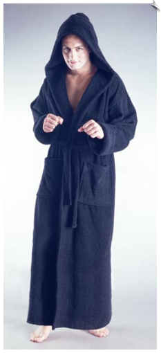 Marine Blue Mens Full Length Hooded Bathrobe