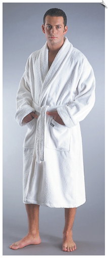 Mens Deluxe Turkish Bath Robe, White