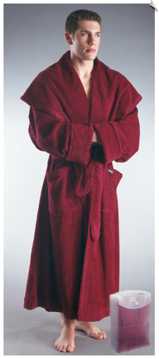 Burgundy Mens Monk Bathrobe