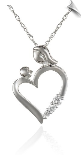 "10k Gold and Diamond ""Mom and Child"" Heart Pendant Necklace"