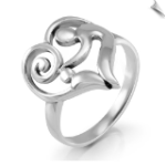 925 Sterling Silver Heart-Shaped Mother and Child Ring