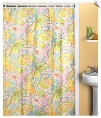 Cool Pastel Paisley Fabric Shower Curtain