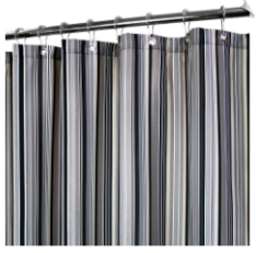 Watershed Strings Stripe Fabric Shower Curtain