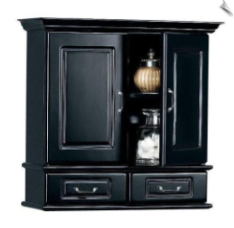 Wall Cabinet With Wood Doors BLACK