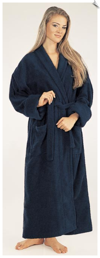 Marine Blue Womens Full Length Bathrobe