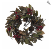 Pinecone Berry & Feather Wreath, 24""