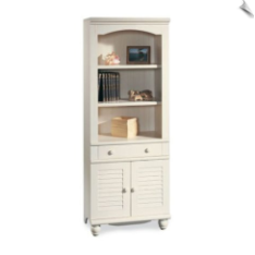 Bookcase with Doors - Antique White