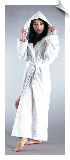 White Womens Full Length Hooded Bathrobe